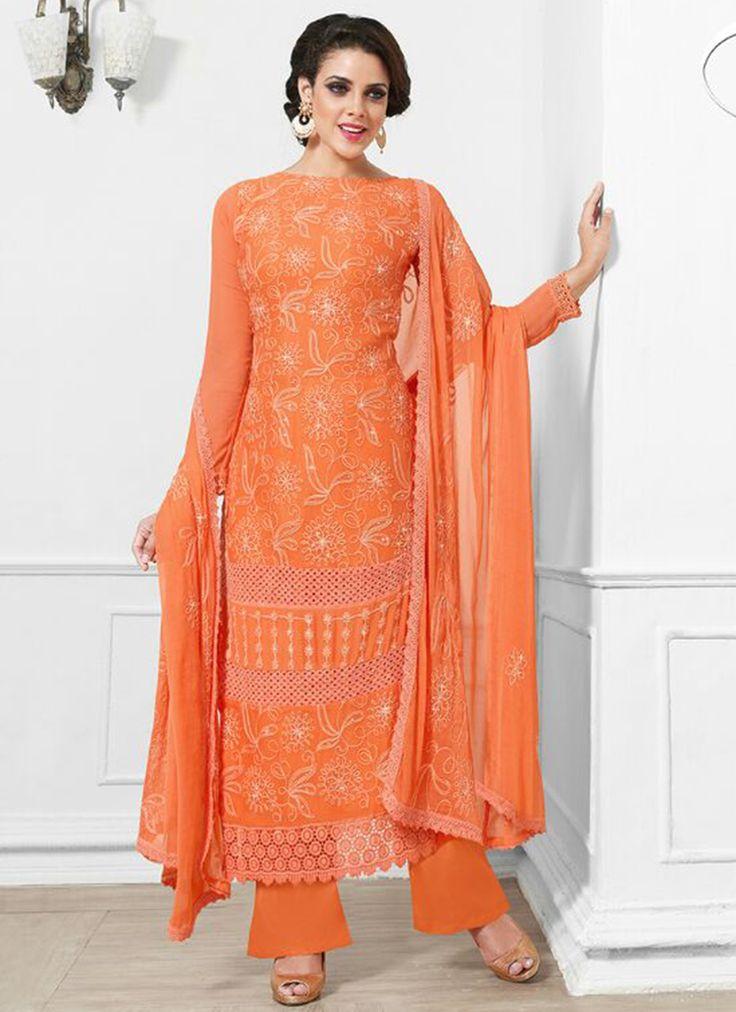 Orange Plain Party Wear Wholesale Salwar Kameez Supplier Online  Buy Now @ http://www.suratwholesaleshop.com/50057-Exotic-Net-Turquoise-Designer-Anarkali-Suit?view=catalog