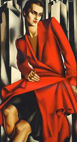 """Woman in Red (Portrait of Mrs. Bush)"", 1929, by Tamara de Lempicka (Polish-American, 1898-1980)"