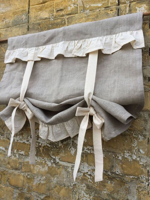 Natural grey linen + creamy unbleached cotton ruffle, 36 length including 3 rod pocket. Choose the width from the drop-down box above. The one shown on the pictures is 26 wide and 36 long, you can choose any size from the list. If you need any custom size please contact me for a special