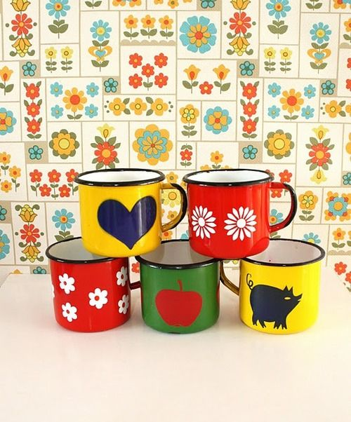 vintage tin mugs but it's the tiles that I adore