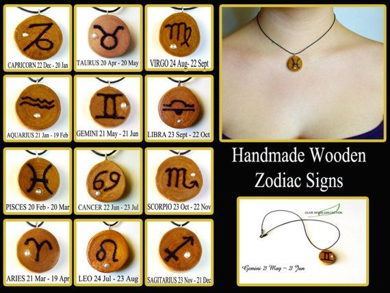 Olive Wood Zodiac sign necklace, Zodiac Wood, Pisces star sign, Real  pearl. Black cord.