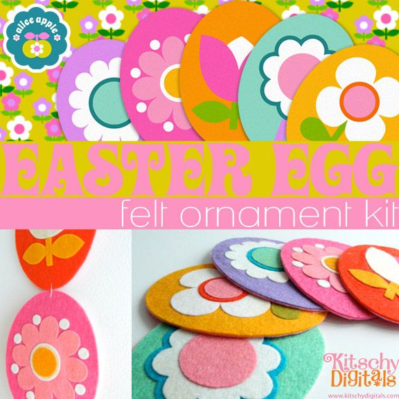 LOVE this Easter / Spring Felt OrnamentTemplate Printable by Alice Apple. Would make cute ornaments or garland!