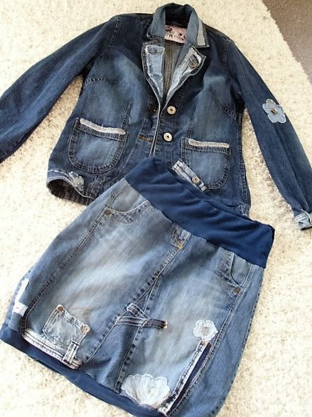 upcycling jeans patwork hippie coll rockabilly  lagenlook jacke ballonrock kombi