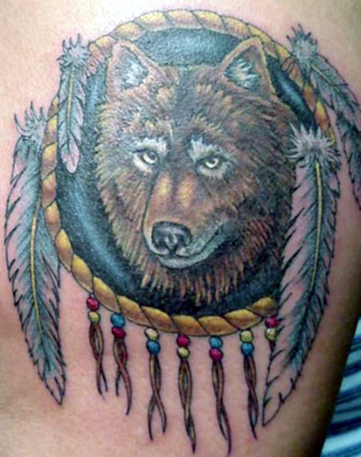 20 best dream catcher wolf tattoos for men images on for Wolf head dreamcatcher tattoo