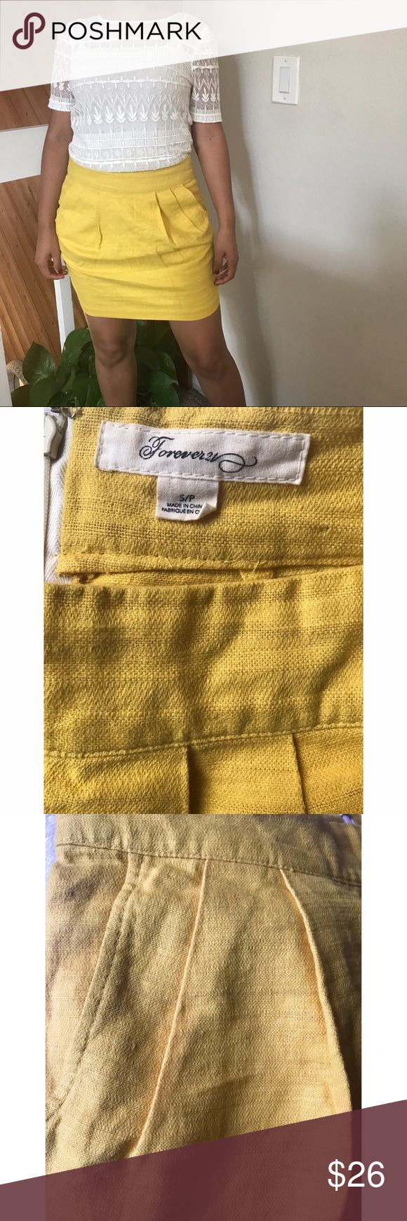 Mustard Yellow Linen Mini Skirt Mustard Yellow Linen Mini Skirt. Worn once. Perfect condition. **The first 2 stock photos are for inspiration showing a very similar skirt. Actual skirt are shown in the last 5 pictures. Forever 21 Skirts Mini
