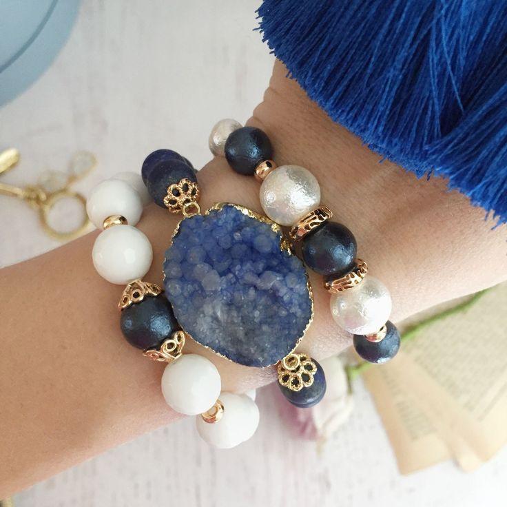 Купить Браслеты синие с друзой - браслет, браслет из камней, браслет с друзой, браслет из майорки