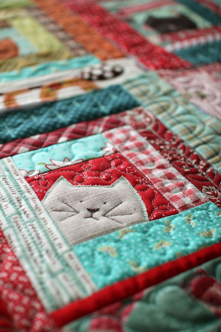 I love little projects! There's always time to quilt something small. I also love log cabin quilt blocks; but would put bunny faces instead of the cats. I have never de...