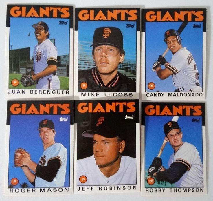 1986 Topps Traded San Francisco Giants Team Set of 6 Baseball Cards (No W Clark) #sfgiants #SanFranciscoGiants
