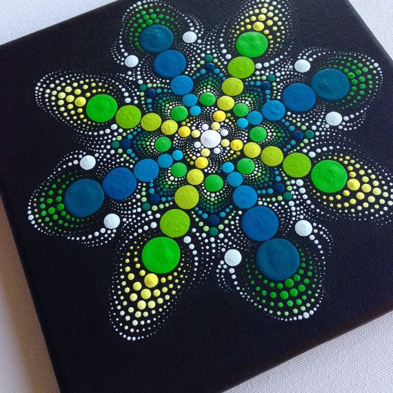 Original Dotart Green Mandala Painting on Canvas, 20x20cm Painting, Office and home ornament decoration Gift Dotilism Dotart Henna Art
