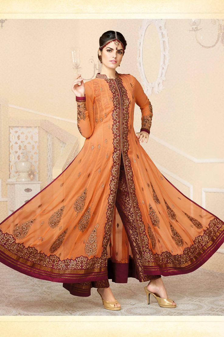 Orange designer salwar kameez online from Skysarees