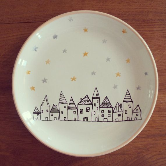 The village ceramic decorative plate by MoonAndWoodShop on Etsy, €20.00