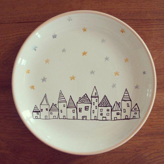 The village ceramic decorative plate