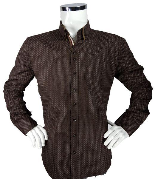 Koszula w kropki z długim rękawem - - Koszule męskie - Awii, Odzież męska, Ubrania męskie, Dla mężczyzn, Sklep internetowy
