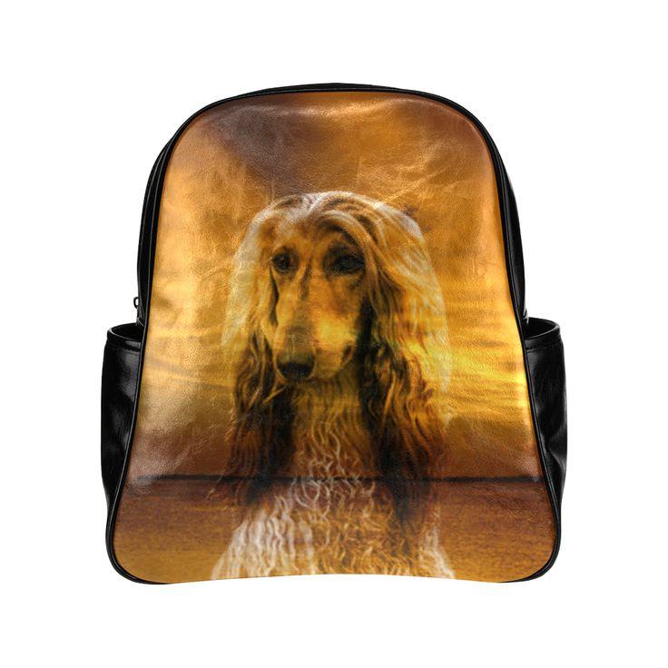 Dog Afghan Hound Multi-Pockets Backpack (Model 1636)