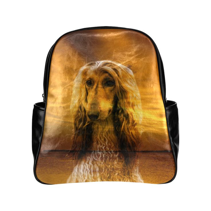Dog Afghan Hound Multi-Pockets Backpack (Model 1636)
