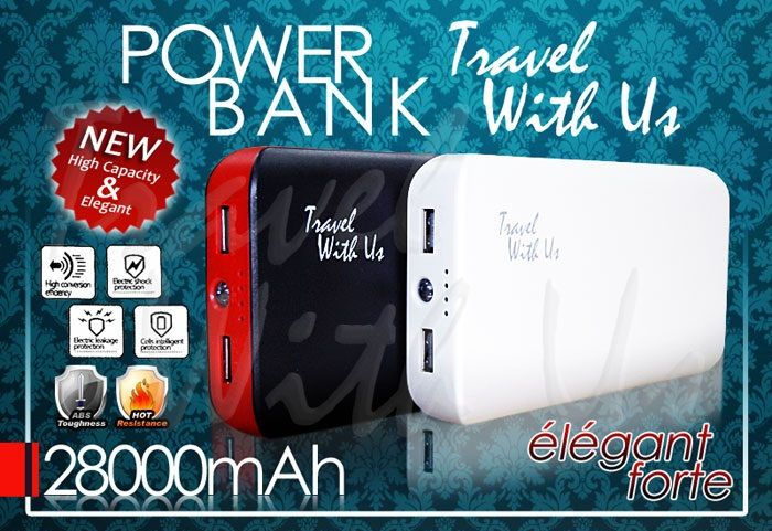 PowerBank TWU 28000mAh, Only Rp 370.000,- *not include shipping cost  - Design dengan pilihan warna menarik, berbahan plastik abs (ringan & tahan panas) - Memiliki 2 output port USB; 1,0A untuk pengisian ulang handphone/ smartphone, BB, Android, IPhone, PSP, MP3 Player, camera pocket & port 2,1A untuk pengisian ulang tablet/IPad - Kabel adapter dengan 5 connector - Dapat digunakan untuk 2 device sekaligus - 4 lampu LED, indikator kapasitas battery dan saat digunakan - 1 lampu LED (lampu…
