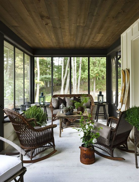 Brown Screened Porch : Screened porch comfy brown wicker interior pinterest
