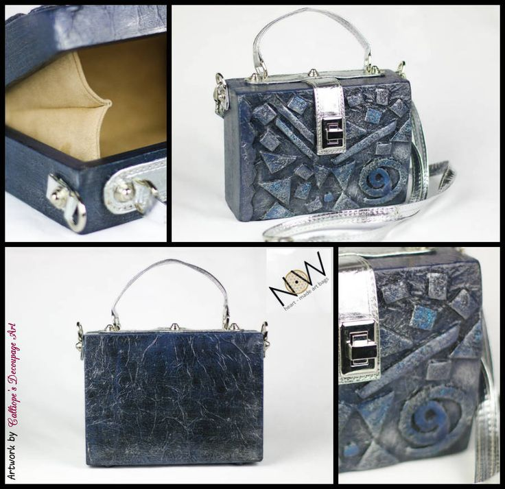 Decoupage σε ξύλινες χειροποίητες τσάντες | NOW-Heart-made Art Bags | Calliope's Decoupage Art