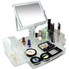 Acrylic Display Makeup Cosmetic Jewelry Organizer Storage Holder Drawer Mirror