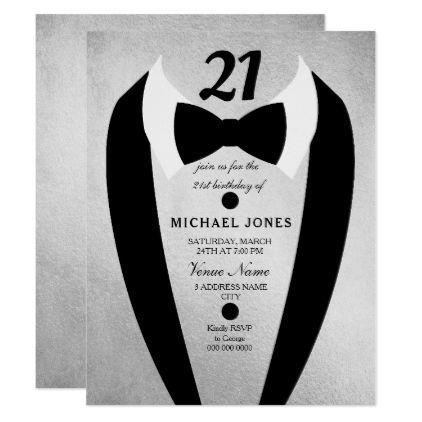 Silver Tuxedo Mens 21st Birthday Party Invite
