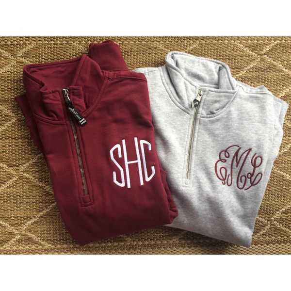 Charles River Monogram Quarter Zip Pull Over ($29) ❤ liked on Polyvore featuring tops, hoodies, sweatshirts, black, women's clothing, quarter zip sweatshirt, 1/4 zip pullover sweatshirt, special occasion tops, holiday sweatshirts and quarter zip pullover