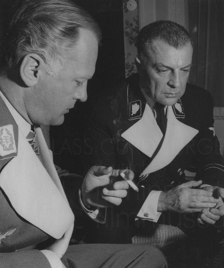 Curd Jurgens and Viktor de Kowa on the set of Des Teufels General, 1955.