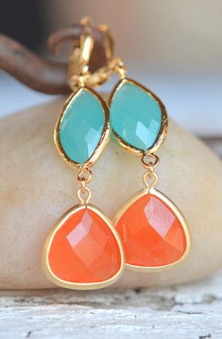 beautiful orange and turquoise drop earrings
