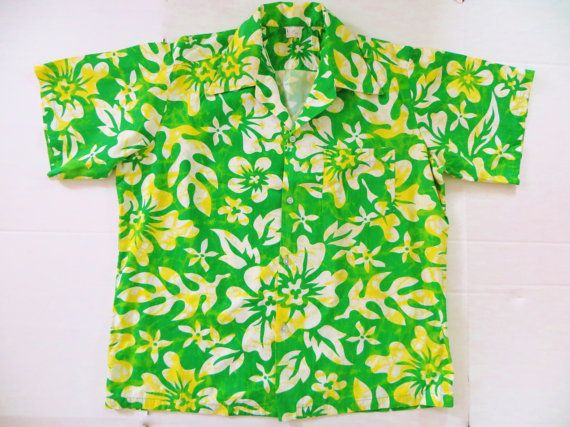 Vintage 60s 70s Hawaiian Shirt Flare Collar Cotton by TomCatBazaar