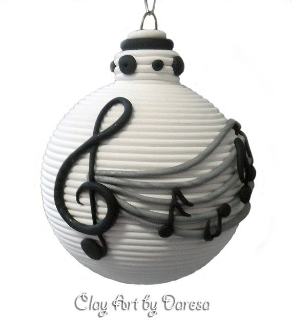 Music Notes polymer clay ornament by ClayArtbyDaresa on Etsy, $16.00