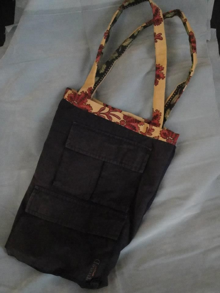 Handmade bag by PouPée-Pe made from old trousers
