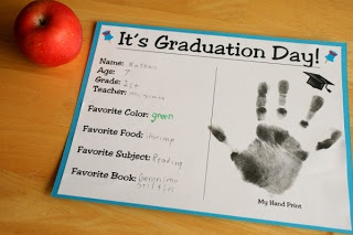 """It's graduation day!"" handprint craft."