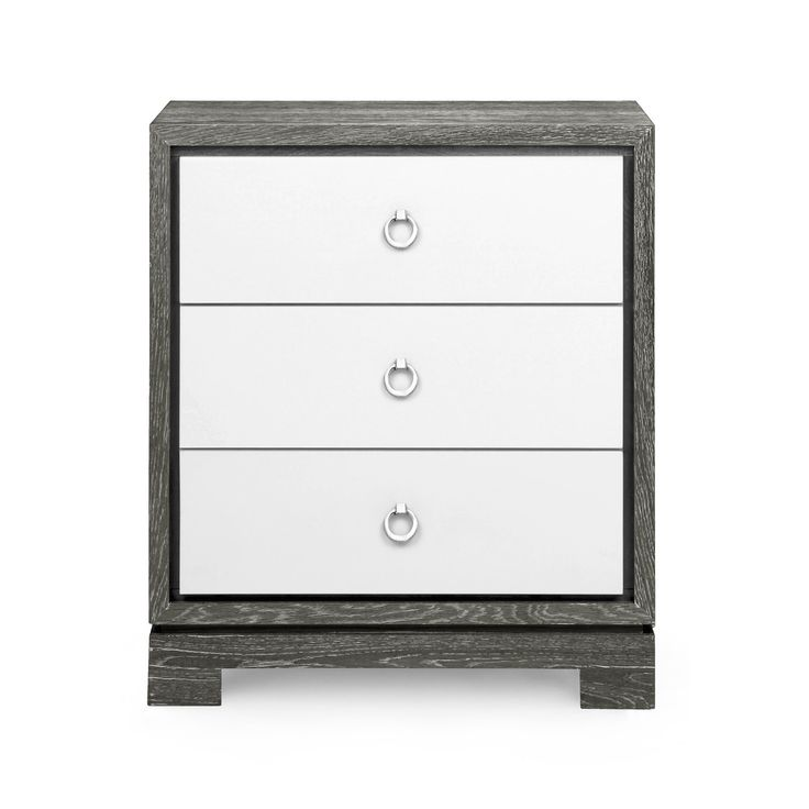 Berkeley 3-Drawer Side Table w/ Chrome Pulls, Gray - Bungalow 5