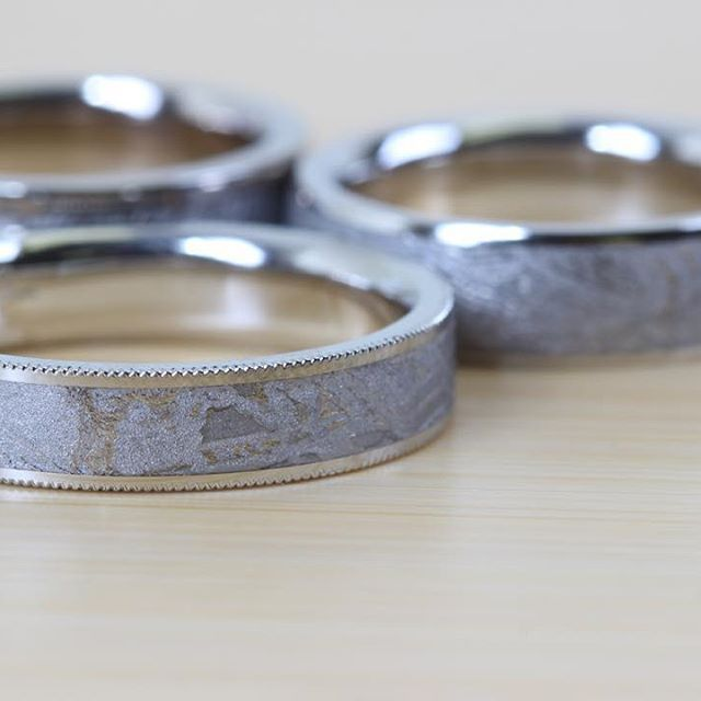 Popular A beautiful selection of our Sirius Meteorite wedding bands with platinum and milgraine edge center