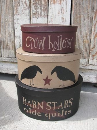 Primitive Crow Hollow Oval Stacking Boxes