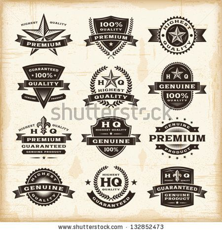 Vintage premium quality labels set. Fully editable EPS10 vector. - stock vector