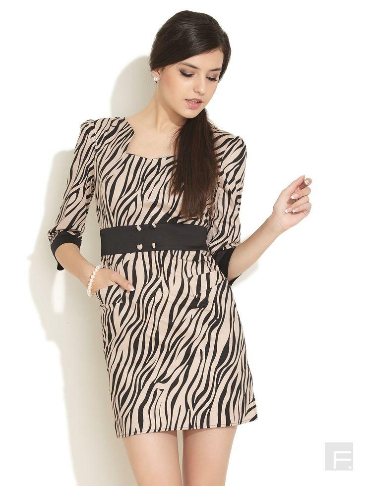 Animal Print Formal Dress-Black