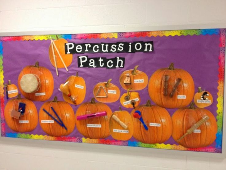 Percussion Patch bulletin board.  The pumpkins came from Oriental Trading, but the instruments came right out of her classroom.  What a fun idea!