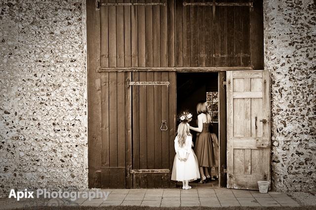 Birling Manor door to barn