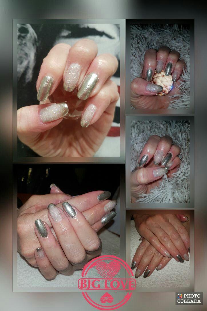 Chrome nails. Gel overlay