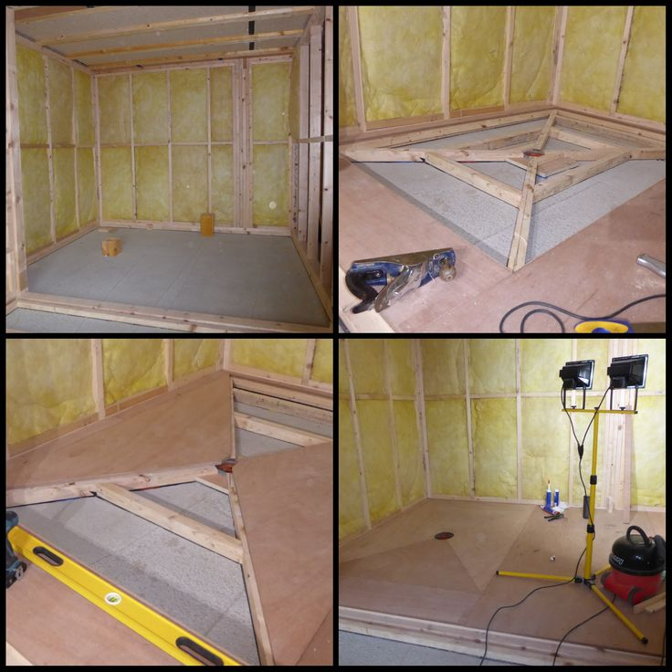Stages in forming wet room floor using marine plywood for #AccessibleShower.  Building a #passivhaus #Fife #Scotland