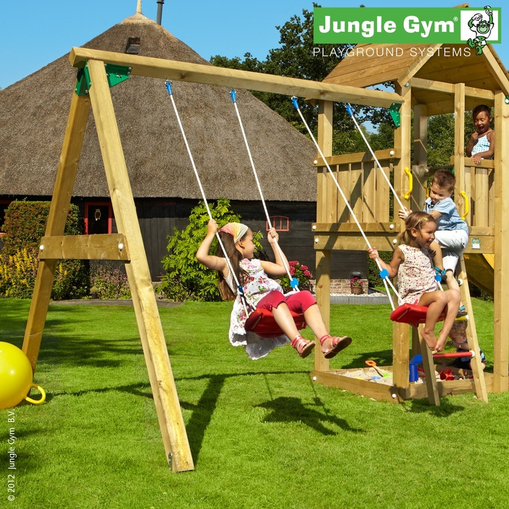 Swing module Xtra - A wooden swing set attachment, similar to the Swing Module, with a little added x'tra.