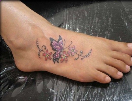 purple butterfly and flower tattoo on foot for you ideas and design