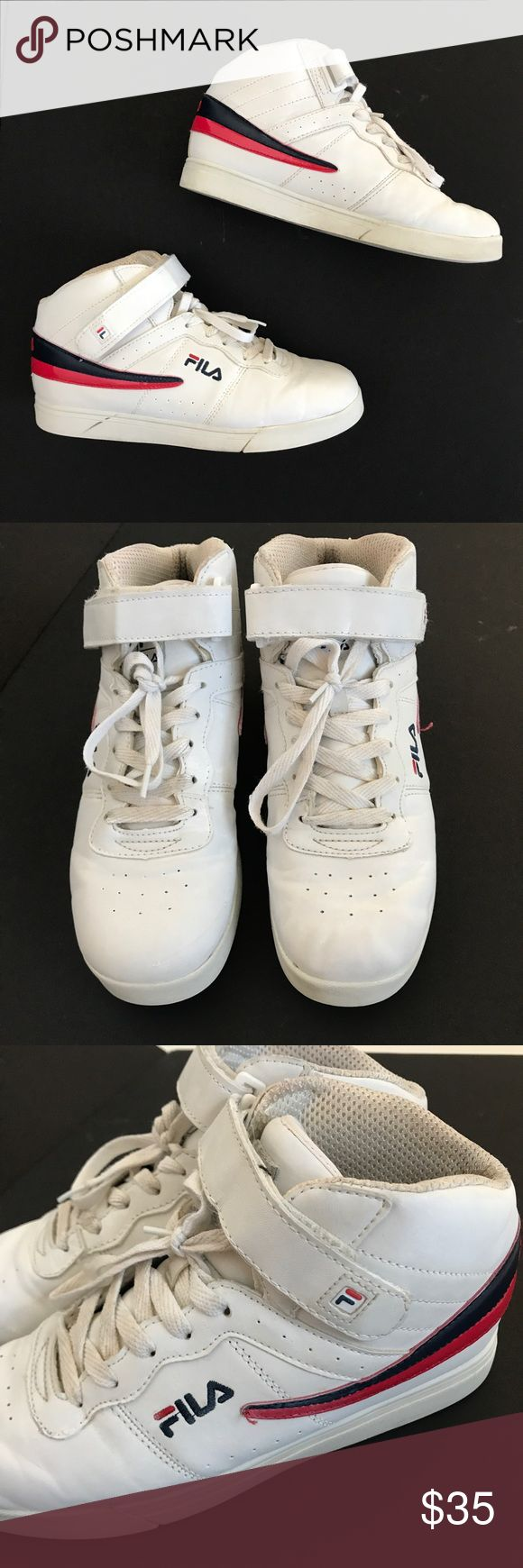 Vtg Fila high tops white red blue Men 7 Women 9 Vtg Fila High Top Basketball Shoes Men 7 Women 9 White Red Blue Retro Sneakers   Mens size 7, women's size 9   Normal wear. See photos Fila Shoes Sneakers