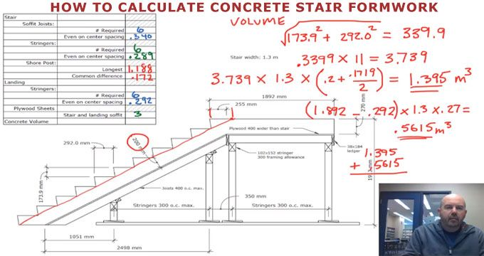 How to calculate the formwork for a concrete stair | engineering in