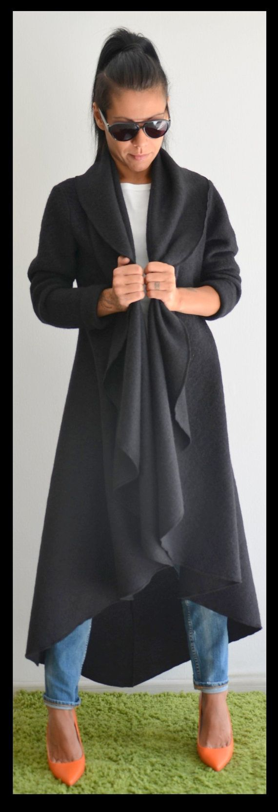 Black ASYMMETRIC Wool Long coat / Winter by ClothesByLockerRoom