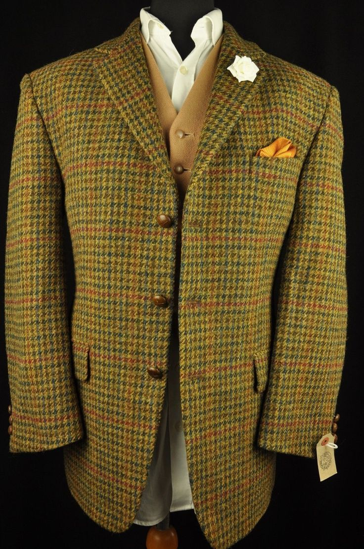 Vtg Harris Tweed Houndstooth Country Tailored Hacking Jacket 44