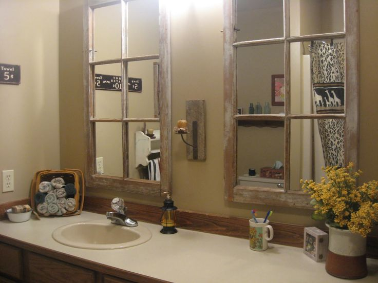 bathroom mirror with old window   Terry's Country Home…in the Guest Bath
