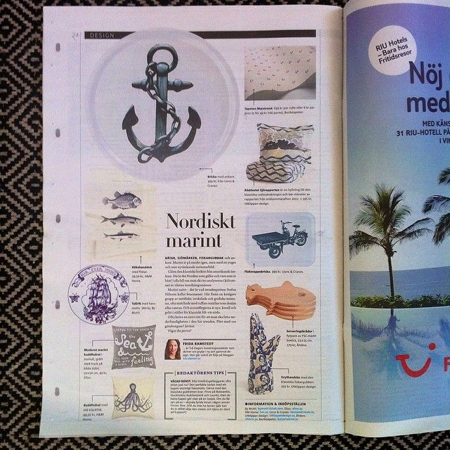 This weekend we are happy to find some of our products featured in GPs @tvadagar as a part of the Nautical style compilation put together by @trendenser ⚓ Thanks @alalondon for sharing with us  #lionsandcranes #lionsocranes #linocut #tray #bricka #gp #nautical #marint #design #swedishdesign #trendenser #alalondon #anchor #ankare