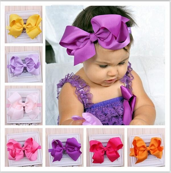 Kids Headbands Solid Color Kids Girl Elastic Hair Bands Baby Hairbow