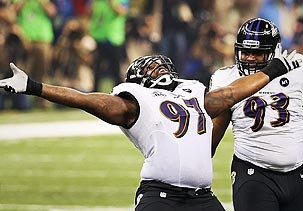 Image: Arthur Jones of the Baltimore Ravens celebrates during Super Bowl XLVII (© Ronald Martinez/Getty Images) they win the SuperBowl 34-31